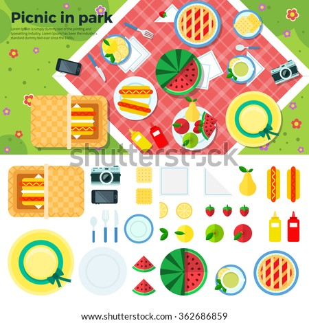 summer picnic in park on the
