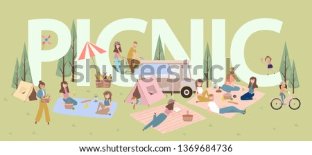 Summer picnic with active family vacation with kids, couples, families, relaxing on nature, ride bicycle. Editable vector illustration