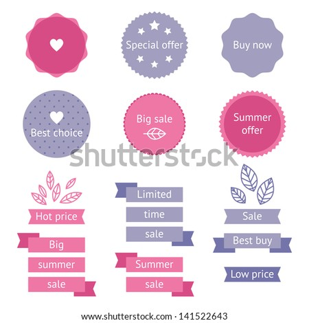 Summer pink and purple sale labels in flat style