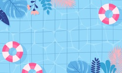 Summer pool background vector illustration. swimming pool blue and pink theme with copy space.