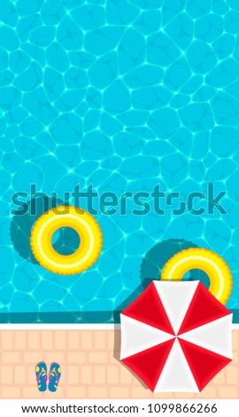 Summer pool party banner with space for text. Yellow pool float, sun umbrella and flip flops. Ring floating in a refreshing blue swimming pool. Colorful poster for summer holiday. Hello summer banner