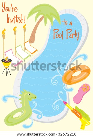 Summer Pool Party Invitation for kids or fun adults with room for your text