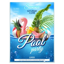 Summer pool party poster. Tropical leaves, fruits, infatable pink flamingo on underwater background with blue cloud sky. Vector beach holiday party, summertime vacation banner