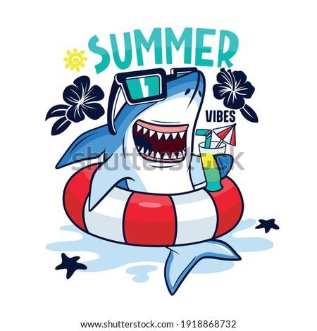 Summer pool party.Shark character design. Fun t-shirt print. Foto d'archivio ©