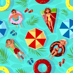 Summer pool vector illustration of seamless pattern background with people on swim rings in fruits shape. Happy boys and girls in swimwear and sunglasses on holiday vacations or tropical beach party