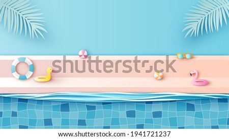 Summer poolside scene with duck swim ring, flamingo swim ring, ball beach and sunglasses. Swimming pool stage podium scene. paper cut and craft style. vector, illustration.