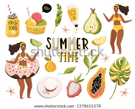 Summer pop art set with holiday Elements. Ice cream, mango, palm leaves, tropic, fruits, girls. Typographic design. Vector illustration.