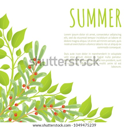 summer poster and green bushes
