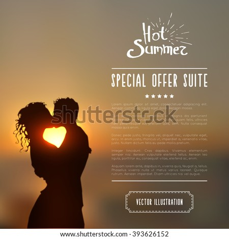 summer poster with a kissing