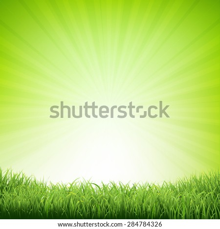 summer poster with grass border
