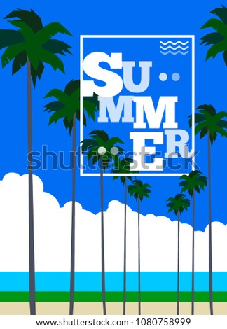 summer poster with palm trees