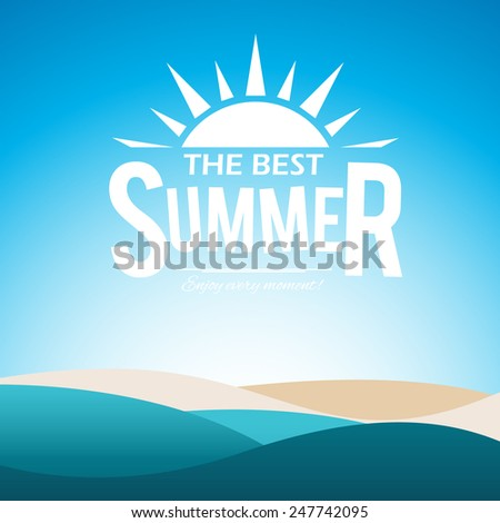 summer poster with sea waves
