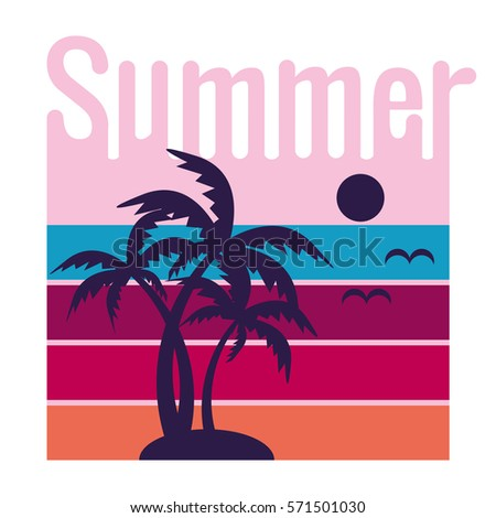 Summer poster with sun and palms. Summer poster on white background. Summer vacation.