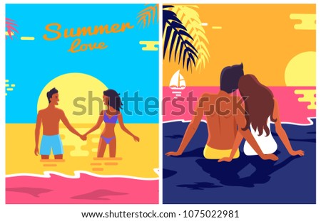 summer posters set with couple