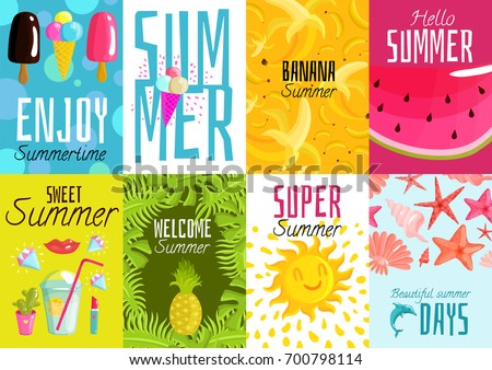 Summer posters set with ice cream, fruits, cocktail, shells, palm leaves on colorful backgrounds isolated vector illustration  #700798114