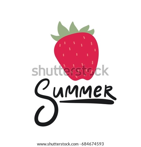 Summer print with strawberries