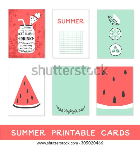 Summer printable cards. Detox fat flush water recipe, watermelon, fruits and vegetables. Decorative doodle style vector illustration with mason jar and ingredients.