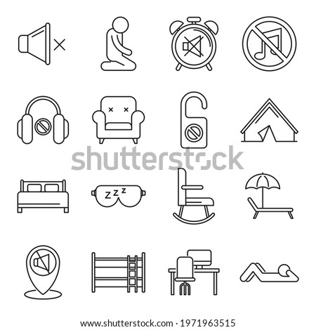 Summer quiet spaces icons set. Outline set of summer quiet spaces vector icons for web design isolated on white background Stock photo ©