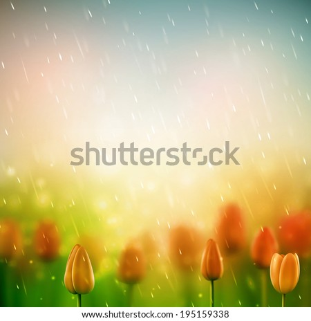 summer rain  background with