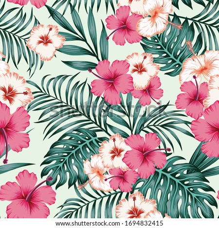Summer repeat illustration in jungle of exotic hibiscus flowers and fern, palm leaves. Seamless vector tropical pattern on white background. Beach design wallpaper.