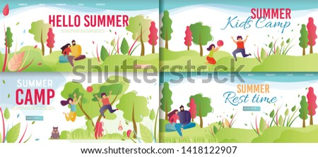 Summer Rest and Kids Camp Cartoon. Flat Banner Template Set. Vector People Relaxing, Enjoying Summertime and Vacation. Children and Camping. Man and Woman Resting on Nature. Vector Illustration