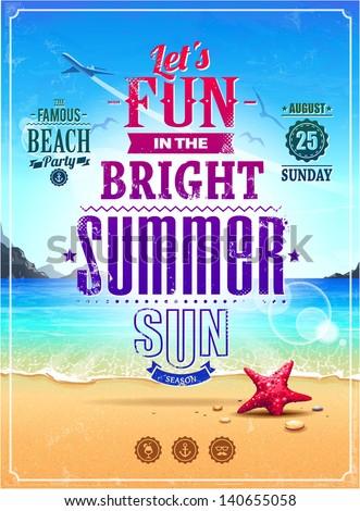 summer retro poster seascape