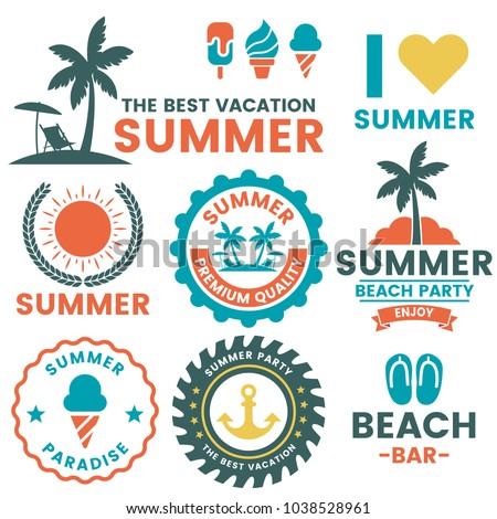 Summer Retro Vector Logo for banner, poster, flyer