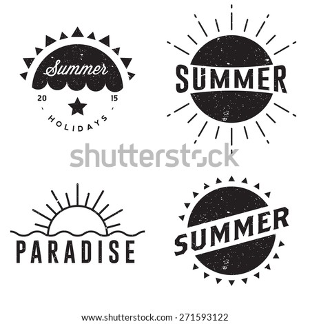Summer retro vintage badges