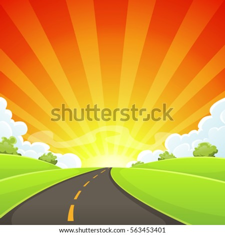 summer road with shining sun