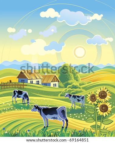 summer rural landscape and