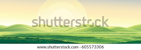 Summer rural landscape, dawn above hills, elongated format.