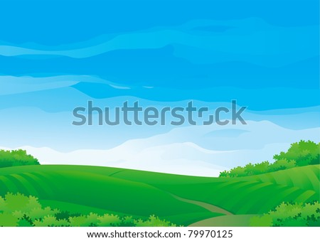 Summer rural landscape	Vector Horizontal Background with Summer meadows During sunny good weather