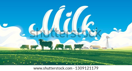 Summer rural landscape with a herd of cows and a farm, against on the background of the inscription and splashes of milk.