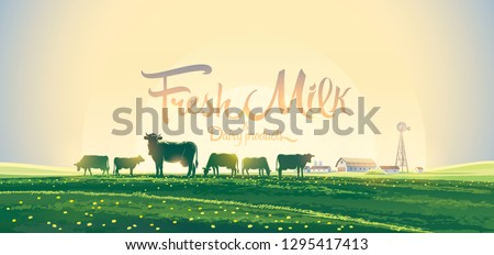 Summer rural landscape with a herd of cows and a farm, against the dawn sky, with tematic inscription.