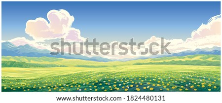 Summer rural landscape with blooming glade with dandelions in the foreground. Stock photo ©