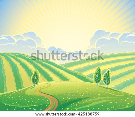 summer rural landscape with