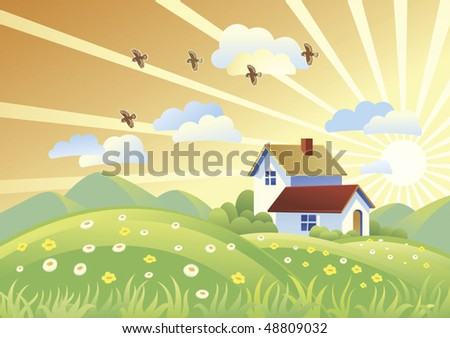 Summer rural landscape with houses