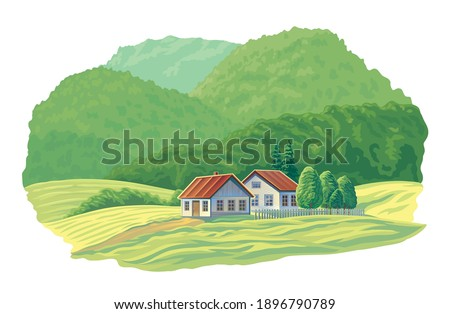 summer rural landscape with two