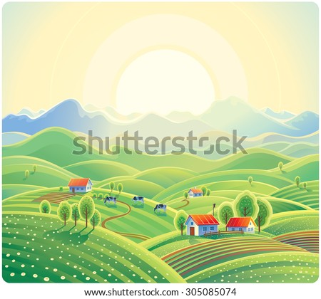 summer rural landscape with