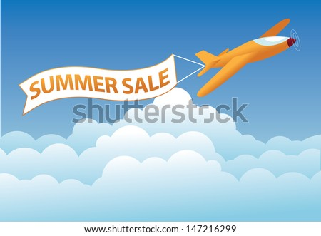 Summer sale airplane banner. EPS 10 vector, grouped for easy editing No open shapes or paths.