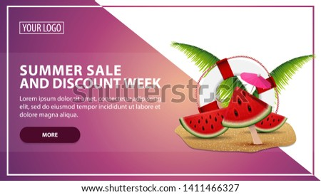 Summer sale and discount week, discount web banner template for your website in a modern style with watermelon slices, palm leaves and lifeline