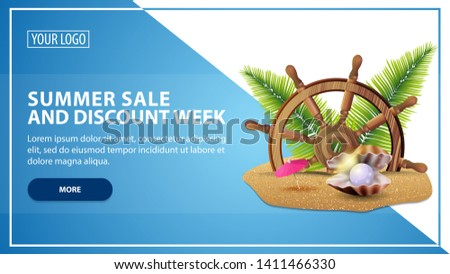Summer sale and discount week, discount web banner template for your website in a modern style with steering wheel of the ship in the sand, palm leaves and pearl