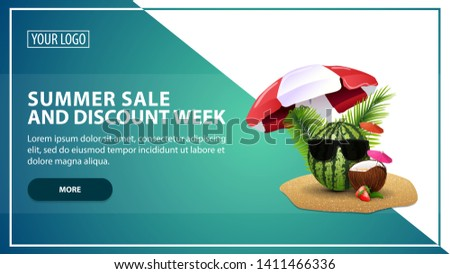 Summer sale and discount week, discount web banner template for your website in a modern style with watermelon in glasses under a beach umbrella