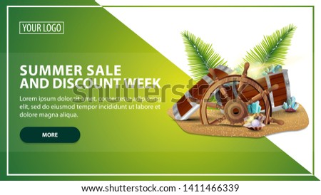 Summer sale and discount week, discount web banner template for your website in a modern style with treasure chest, ship steering wheel, palm leaves, gems and pearls