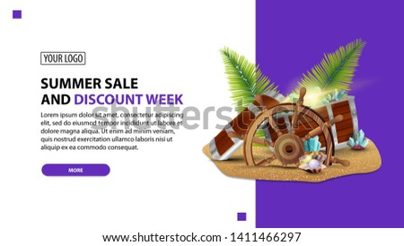 Summer sale and discount week, discount white minimalist web banner template for your website with treasure chest, ship steering wheel, palm leaves, gems and pearls