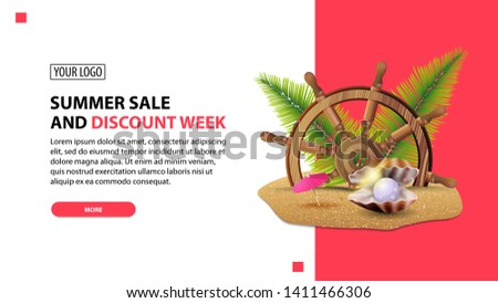Summer sale and discount week, discount white minimalist web banner template for your website with steering wheel of the ship in the sand, palm leaves and pearl
