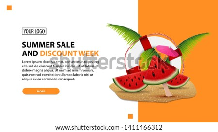 Summer sale and discount week, discount white minimalist web banner template for your website with watermelon slices, palm leaves and lifeline