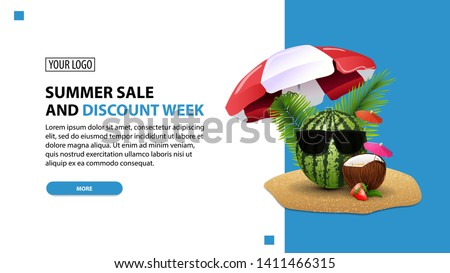 Summer sale and discount week, discount white minimalist web banner template for your website with watermelon in glasses under a beach umbrella