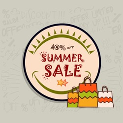 Summer Sale and Discounts, 40% Off, Can be used as sticker, tag or label design.