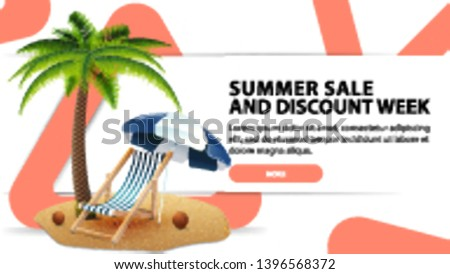 Summer sale and discounts week, modern discount banner with fashionable design for your website with palm tree, beach chair and beach umbrella